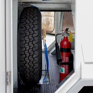 Extinguisher and Spare Wheel