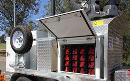 Satellite Trailer showing battery cabinet