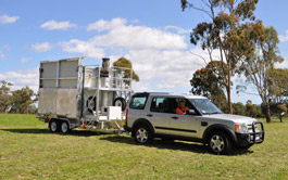 Solar Cell on Wheels being towed by 4WD
